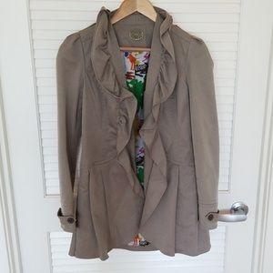 Khaki ruffle trench coat